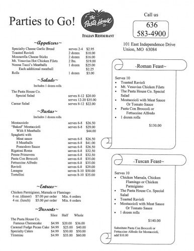 Parties to Go Menu