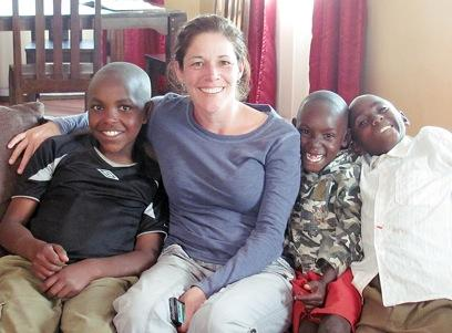 Murphy With Students at Home in Kenya