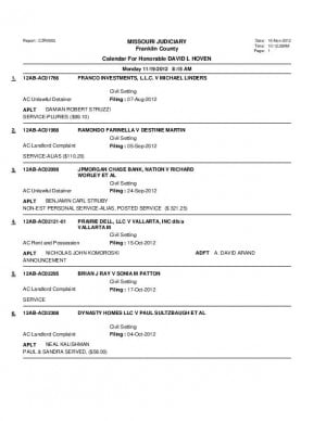 Nov. 19 Franklin County Associate Cicrcuit Court Division VI Docket