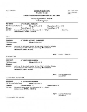 Jan. 3 Franklin County Associate Circuti Court Division VII Traffic Docket
