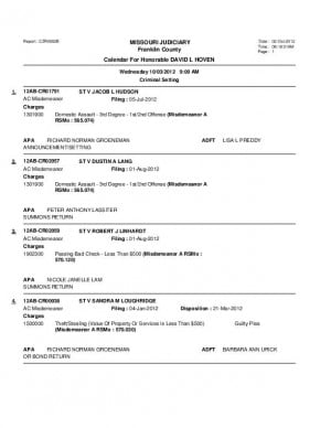Oct. 3 Franklin County Associate Circuit Court Division VI Docket
