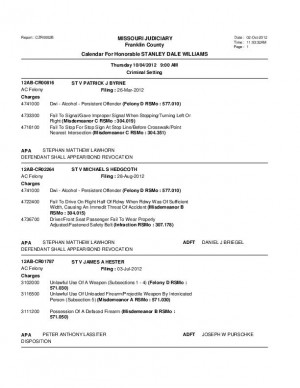 Oct. 4 Franklin County Associate Circuit Court Division VII Felony Docket