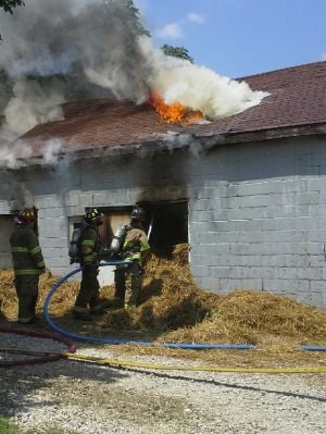Flames at Barn Fire