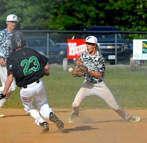<p>Fayetteville's C.J. Dooley makes a play at second base against a Wyoming East base runner Wednesday. Dalton Dempsey backs up the play. The Warriors won 15-5.</p>
