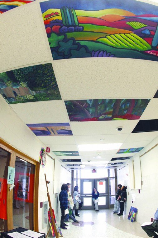 Classroom Ceiling Design ~ Artists look upward waterloo high school art students