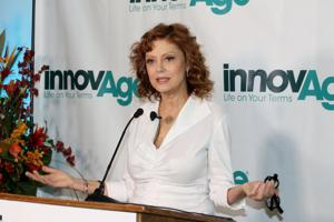 <p>Actress Susan Sarandon speaks during the launch of the Aging in Place campaign in San Bernardino. (Herald News photo by Alejandro Cano)</p>
