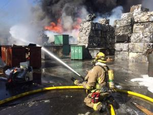 Fire erupts at recycling plant