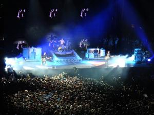 <p>Tens of thousands of music fans watched a performance by blink-182 (featuring Fontana native Travis Barker on drums) during the Epicenter Festival at Auto Club Speedway in 2010. This was one of many huge concerts that have been hosted by the Fontana speedway. The next one will be the HARD Summer Music Festival in July.</p>