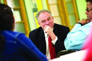Kaine visits Fredericksburg school, talks new education bill