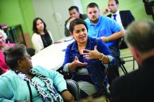 Kaine visits Fredericksburg school, talks new education bill