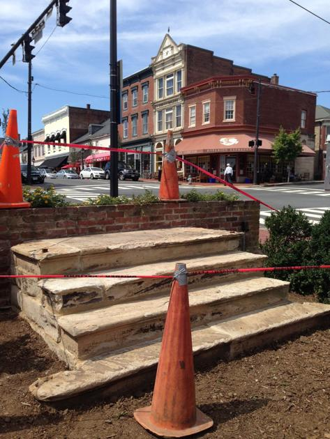 Historic steps on bank building find new home in for New house construction steps