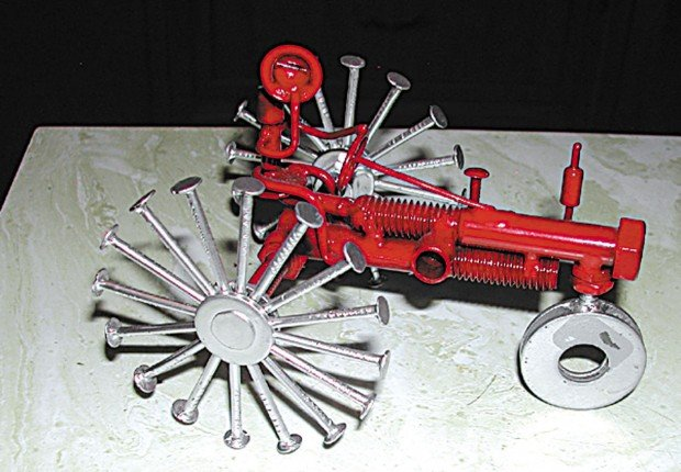Metal Art Tractor : Dodge man creates sculptures out of nuts bolts washers
