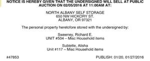 NORTH ALBANY SELF STORAGE