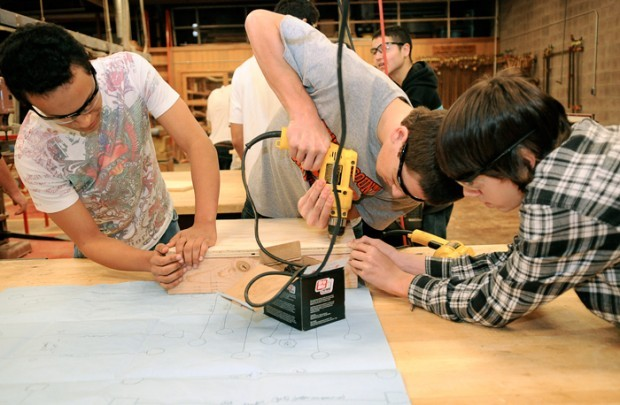 Nordyke, all 15, work together in Kevin Skillings' woodworking class ...