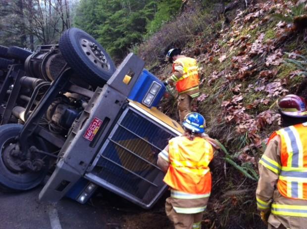 Overturned truck on 878 for Zetts fish farm