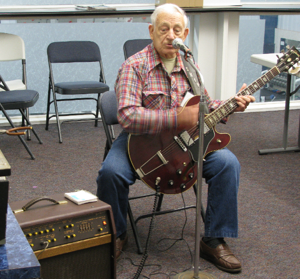 <p>Skip Loxton played his guitar and sang golden oldies at the Gladwin County Genealogical Society open house.</p>
