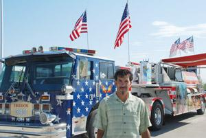 America's hero truck in Saturday fire parade