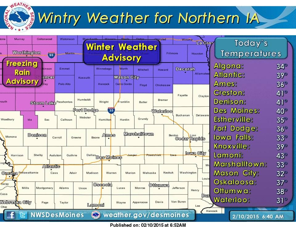 winter weather advisory issued for north iowa