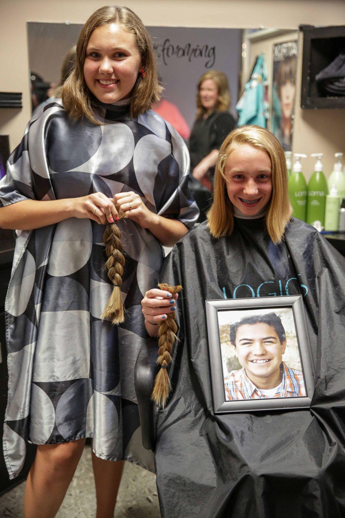 Mason city teens donate hair for cancer patients mason for A thomas cousins salon