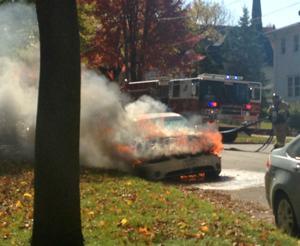Car bursts into flames on Mason City street