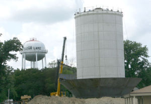 Bowl of new water tower under construction