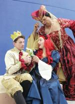 "<p>In Theater Arts Guild's production of ""Once Upon A Mattress,"" Jeff Bradley (left) is Prince Dauntless; Kat Agnew is Princess Winnifred; and Kenneth Bass is Queen Aggravain.</p>"