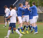 <p>The Cubs celebrate Ethan Isakson's goal. The Tigers hosted the Sedro-Woolley Cubs Monday in their NWC finale. Scott Terrell / Skagit Valley Herald</p>
