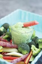 <p>Fresh dill pesto mixed with plain Greek yogurt makes a tasty veggie dip. (AP Photo/Matthew Mead)</p>