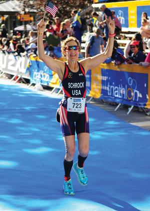 <p>Sheri Schrock of Cohasset won her age group at the ITU Long Distance Triathlon World Championships in Motala, Sweden June 27.</p>