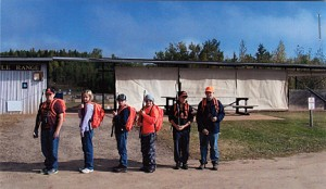 <p>Students in the youth firearms training class held at the Itasca Gun Club demonstrate the use of the field packs during their training. The packs were donated by the Minnesota DNR. Students pictured, are (from left) Christian Long, Kaitlynn Campbell, Jeremiah Campbell, Jason Thomas, Ryan Barrett, and Austin Tatter.</p>