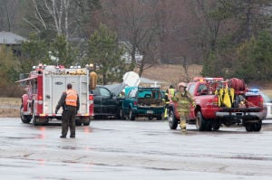 <p>Submitted photo</p><p>An early afternoon accident Thursday in Coleraine at the intersection of Highway 169 and McLean Avenue sent three people to the hospital with non-life-threatening injuries.</p>