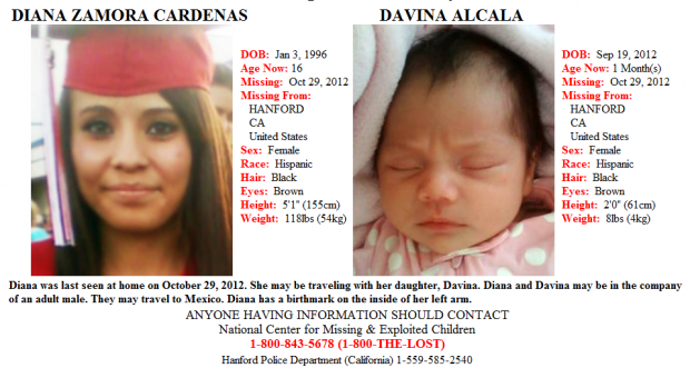 Police search for missing Hanford teen baby – Missing Person Flyer