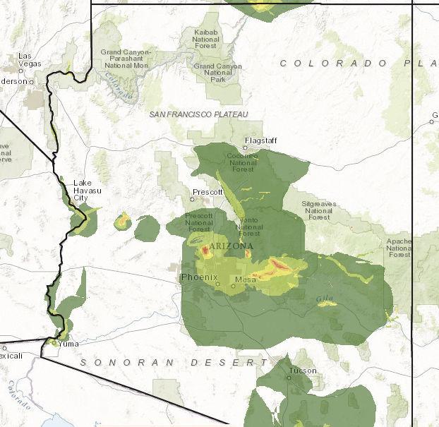 Digital maps show arizona 39 s fishing and hunting hot spots for Fishing hot spots maps
