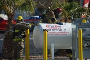 Propane leak, collision block traffic on Acoma Blvd