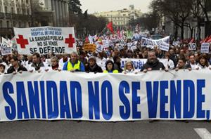 Protests in Spain against health care reform
