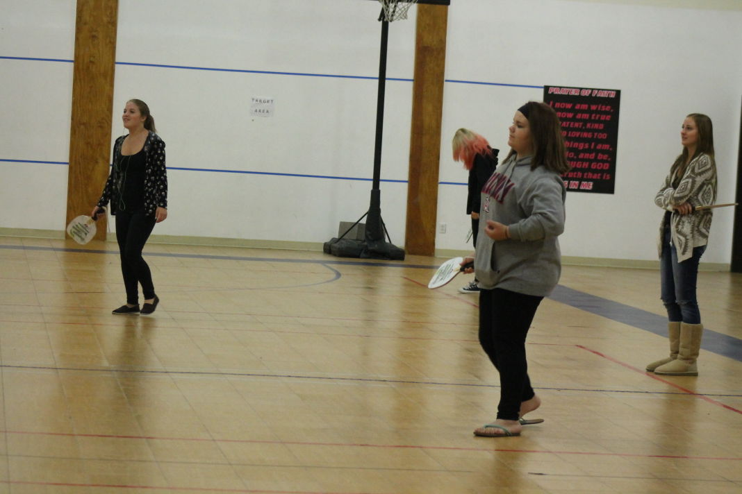 Christina Calloway / News-Herald Photo; Sequoia students practice a few pickleball techniques on the court Thursday afternoon. The students of the online program are going on their second year of playing pickleball.