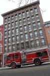 Fire damaged a third-floor apartment Monday morning