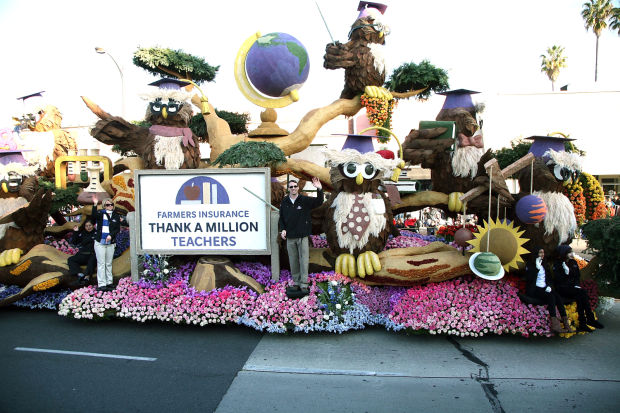 cr anderson teacher rides float at tournament of roses parade