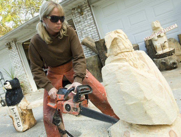 Raychelle conley can make short work of a pine log with