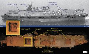 <p>Features on an historic photo of USS Independence are captured in a three-dimensional low-resolution sonar image of the shipwreck in Monterey Bay National Marine Sanctuary. The imaging was taken during the first maritime archaeological survey of its kind.</p>