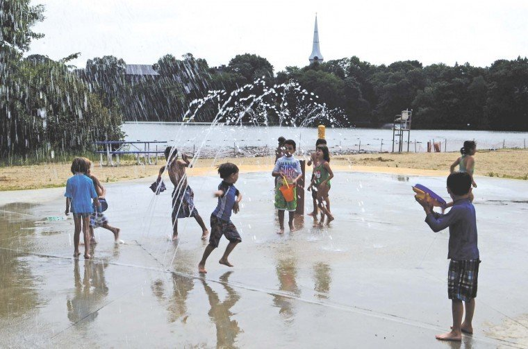 Though Closed For Swimming Splash Park Bringing Them To The Beach In Record Numbers