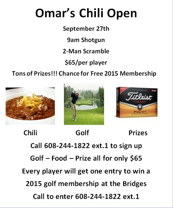 Sign Up Now for Omar's Chili Open, September 27th. Golf, Prize for ...