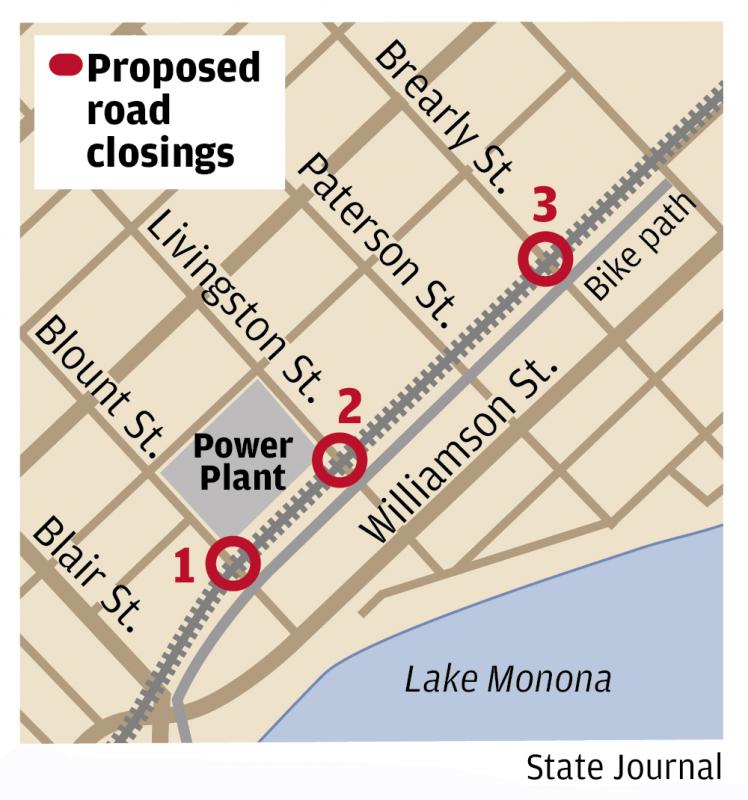 Proposed road closures for railroad crossings map