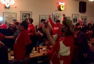 Badgers fans stand elbow-to-elbow to watch team beat Arizona, advance to Final Four
