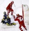 Michael Davies, Blake Geoffrion, UW men's hockey vs. Michigan at Camp Randall