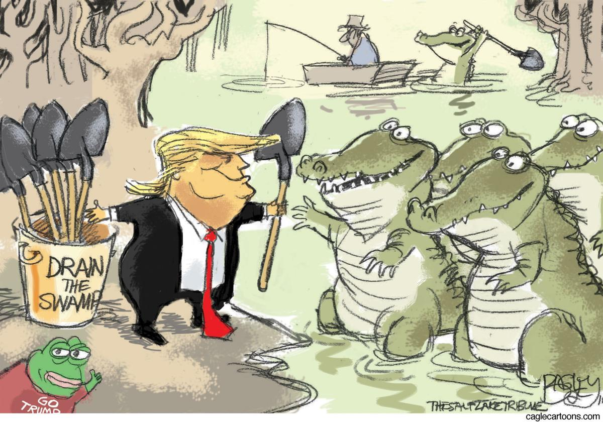 trump gets help draining the swamp in pat bagley s latest political