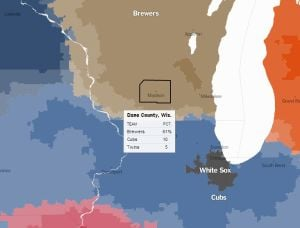 New York Times maps the support for Brewers, Cubs by ZIP code