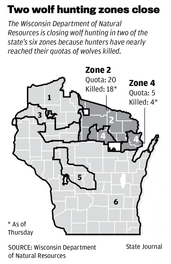 DNR Halting Wolf Hunt In 2 Zones In Northeast Wisconsin  Wsj