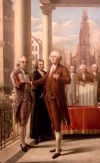 Painting of George Washington being sworn in to the presidency in 1789