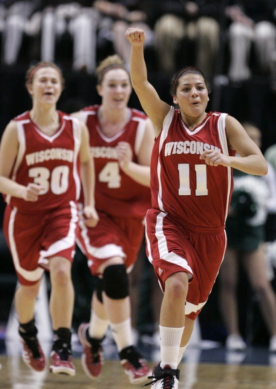 Alyssa Karel, Tara Steinbauer, Rae Lin D'Alie, UW women's basketball vs. Michigan State